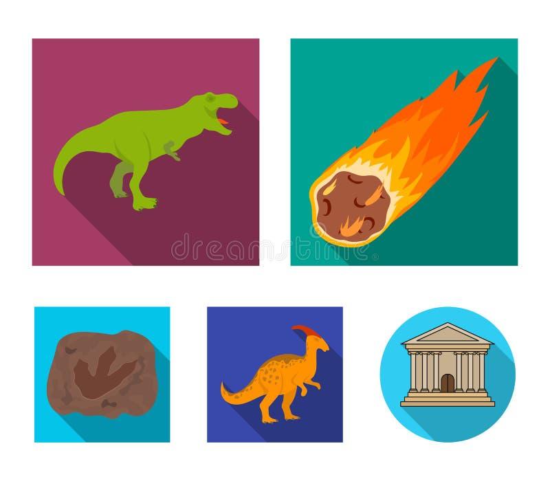Spada meteoryt, parasaurolophus, tyrannosaurus, odcisk dinosaura ` s stopa Prehistoryczny okres i dinosaur ilustracja wektor