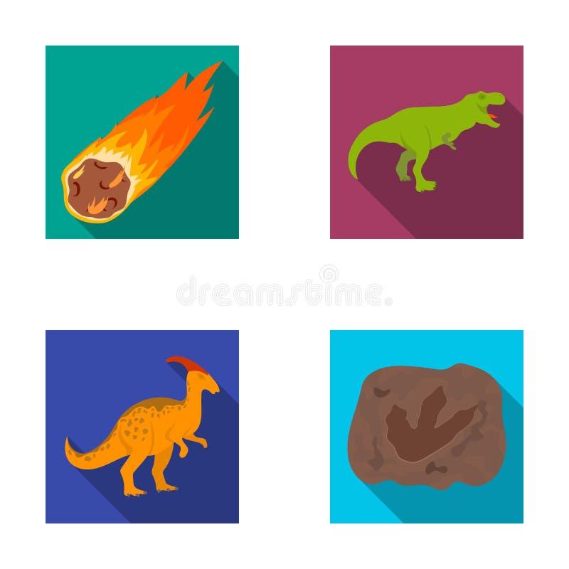 Spada meteoryt, parasaurolophus, tyrannosaurus, odcisk dinosaura ` s stopa Prehistoryczny okres i dinosaur royalty ilustracja