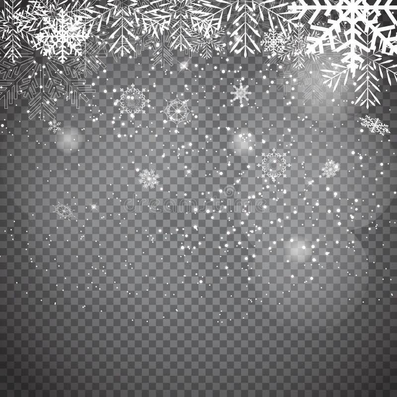 Spada Olśniewający śnieg na Przejrzystym tle i płatki śniegu Bożych Narodzeń, zimy i nowego roku tło, Realisti ilustracji