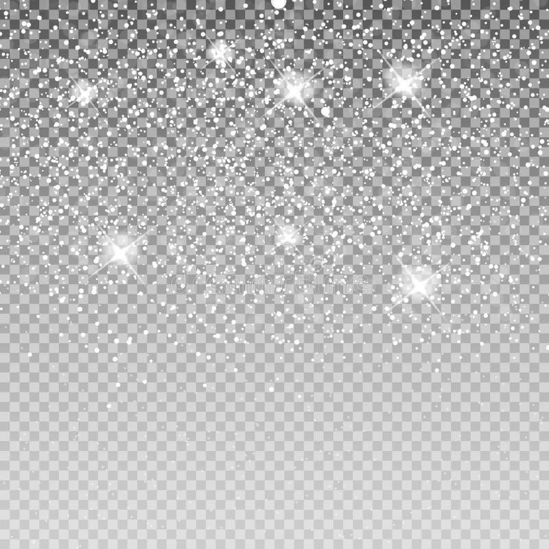 Spada Olśniewający śnieg na Przejrzystym tle i płatki śniegu C ilustracja wektor