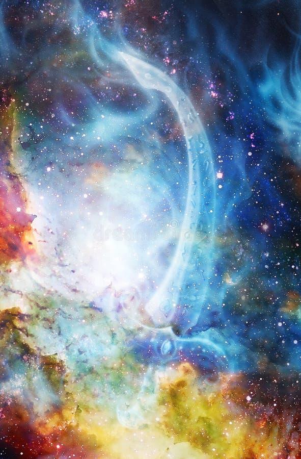 Spada ornamentale del fuoco Pittura originale a colori il fondo cosmico collage del computer illustrazione vettoriale