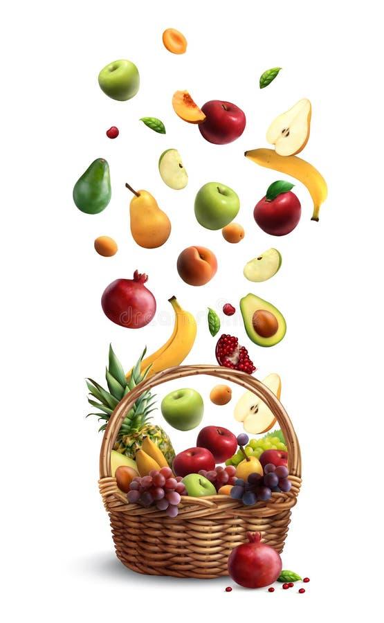 Spada owoc kosz Realistyczny royalty ilustracja