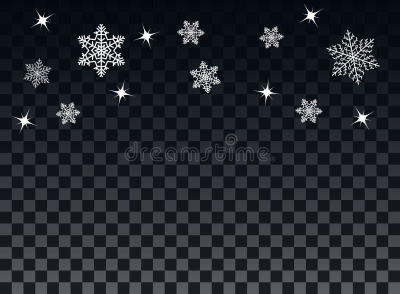 Spada płatek śniegu na przejrzystym ciemnym tle narzuta Zimy dekoracja dla nowego roku i bożych narodzeń wakacyjnych wektor royalty ilustracja