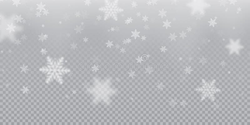 Spada płatka śniegu deseniowy tło biała zimna opad śniegu narzuty tekstura na przejrzystym tle Zimy Xmas śnieg f ilustracji