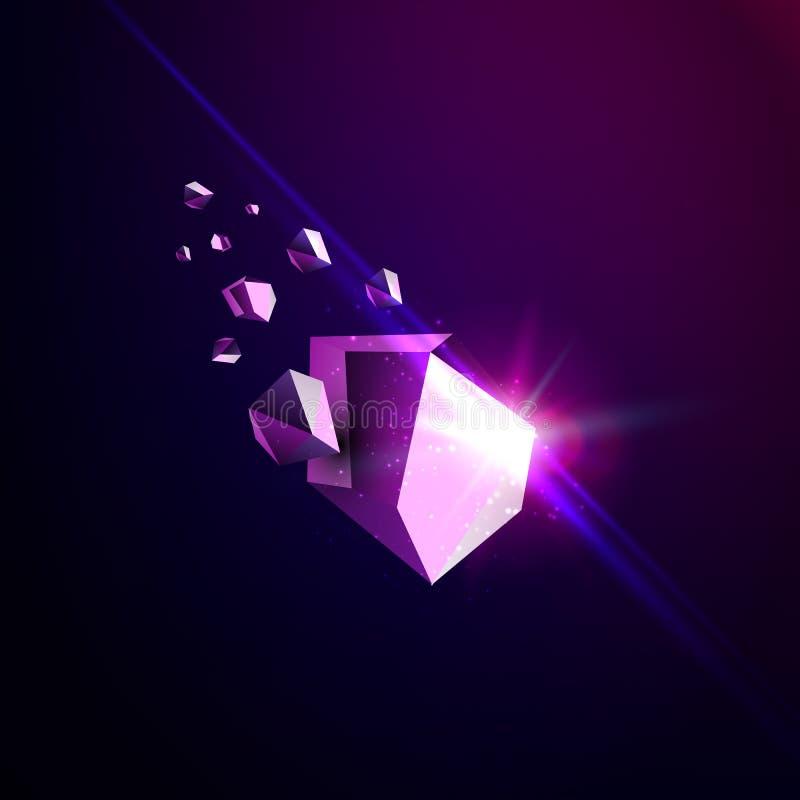 Spada piękno kamień, astronautyczni gruzy, fiołkowa załamuje się asteroida, wektorowa 3D ilustracja Odosobniony niezwykły loga sz ilustracja wektor