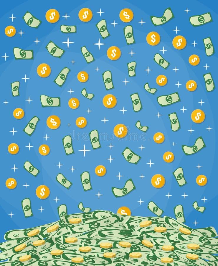 Spada pieniądze w dużego stos gotówka ilustracja wektor