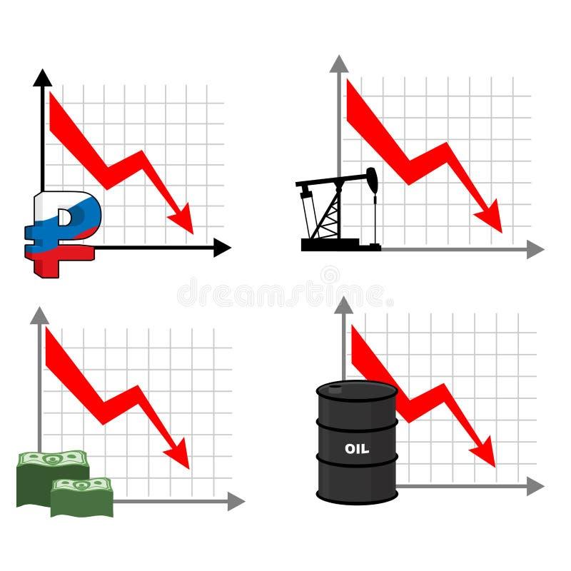 Spada tempa rubel i olej puszek strzałkowata czerwień Zmniejszać koszt o ilustracja wektor