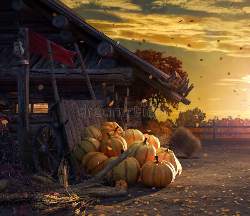 Spada w podwórku z liśćmi spada od drzew i bani, jesieni tło royalty ilustracja