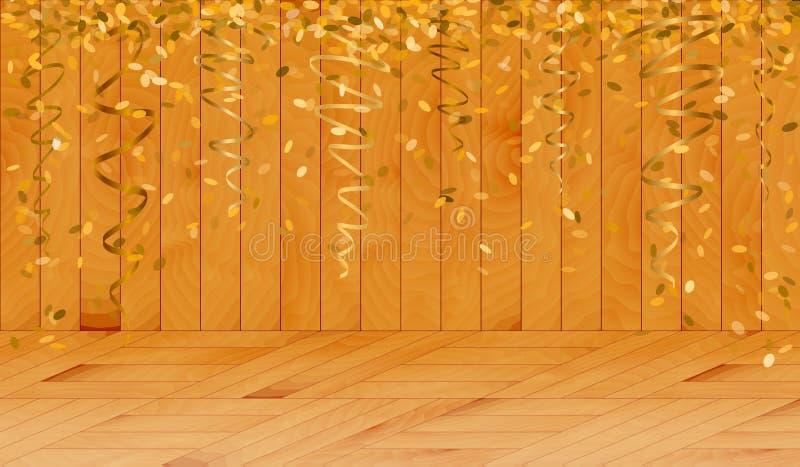 Spada złociści confetti w drewnianym pokoju ilustracja wektor