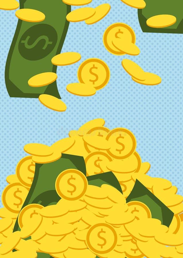 Spada złoci rachunki i monety Pieniądze wektoru ilustracja ilustracja wektor