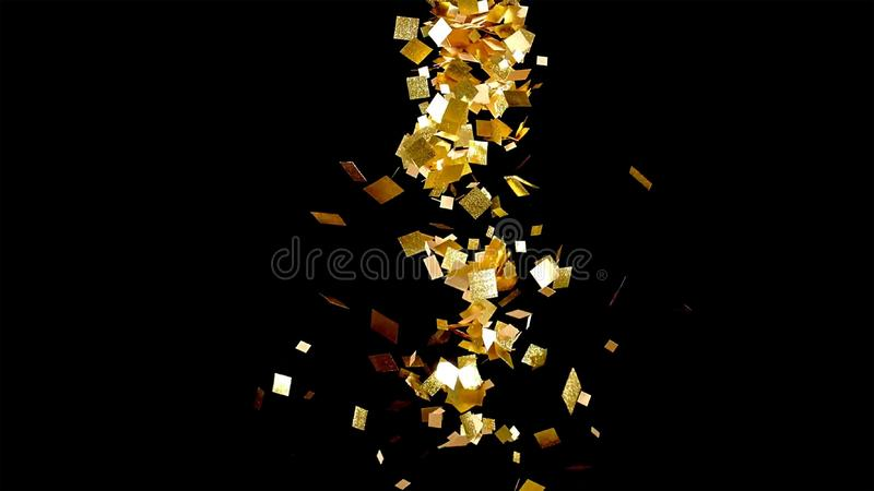 Spada złocista błyskotliwość udaremnia confetti, na czarnym tle obrazy stock