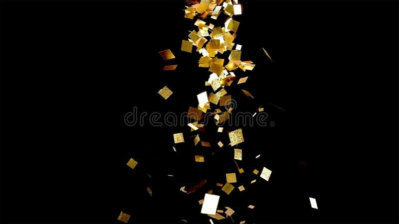 Spada złocista błyskotliwość udaremnia confetti, na czarnym tle fotografia royalty free