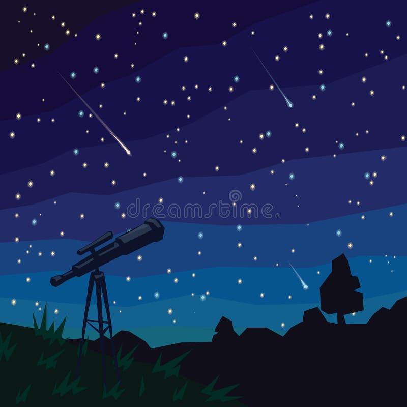 _ spadające gwiazdy Naturalny krajobraz, nocy gwiaździsty niebo i teleskop na przedpolu, ilustracji