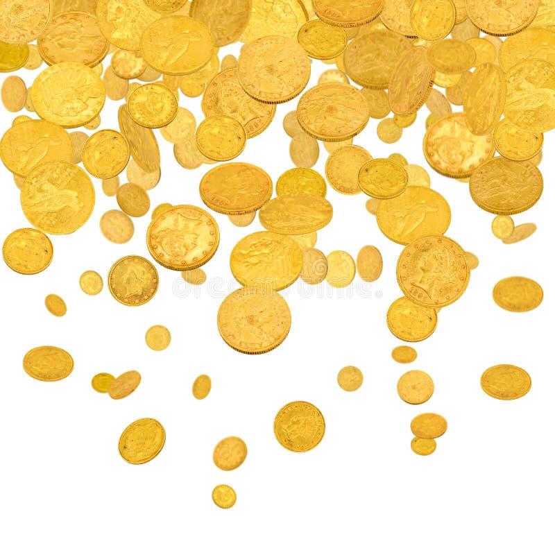 Spadające złote dolary obrazy stock