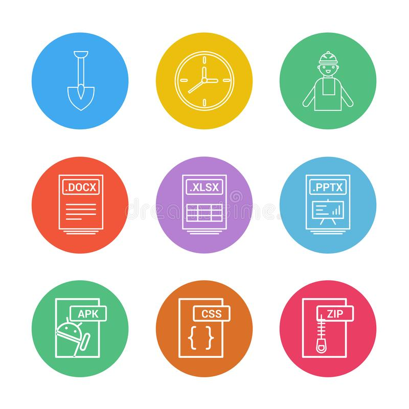 Spade ,clock , engineer , pptx ,power point , zip , compressed. Docx , xlsx , excel file , css , apk android ,icon, vector, design, flat, collection, style stock illustration