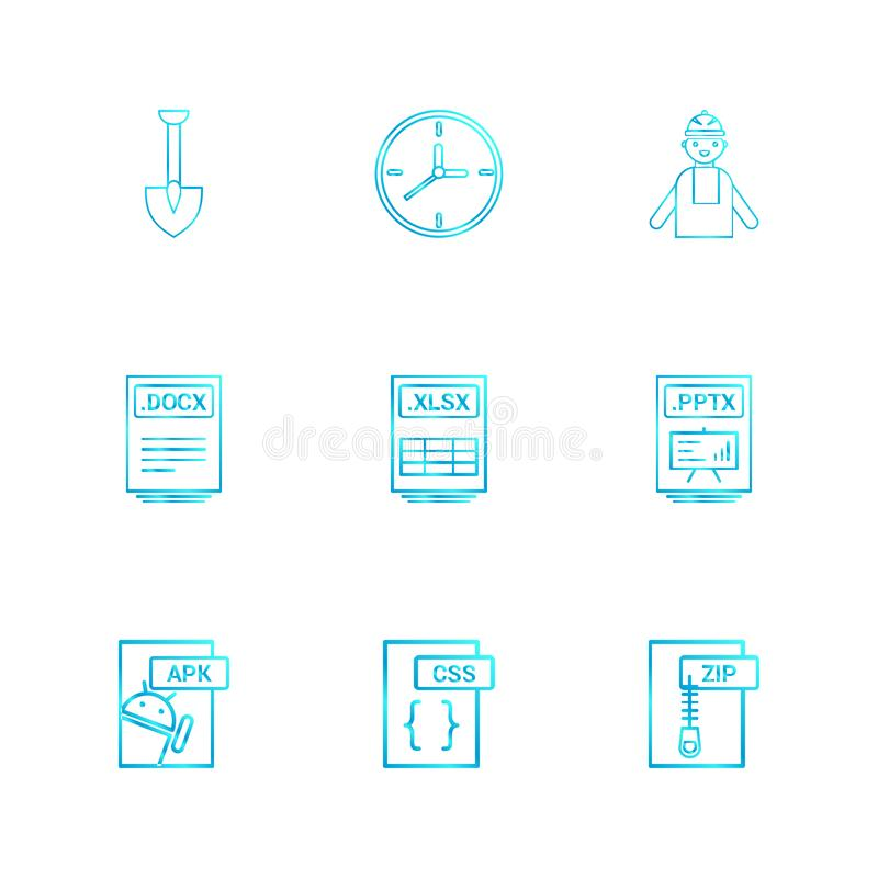 Spade ,clock , engineer , pptx ,power point , zip , compressed ,. Docx , xlsx , excel file , css , apk android ,icon, vector, design, flat, collection, style vector illustration