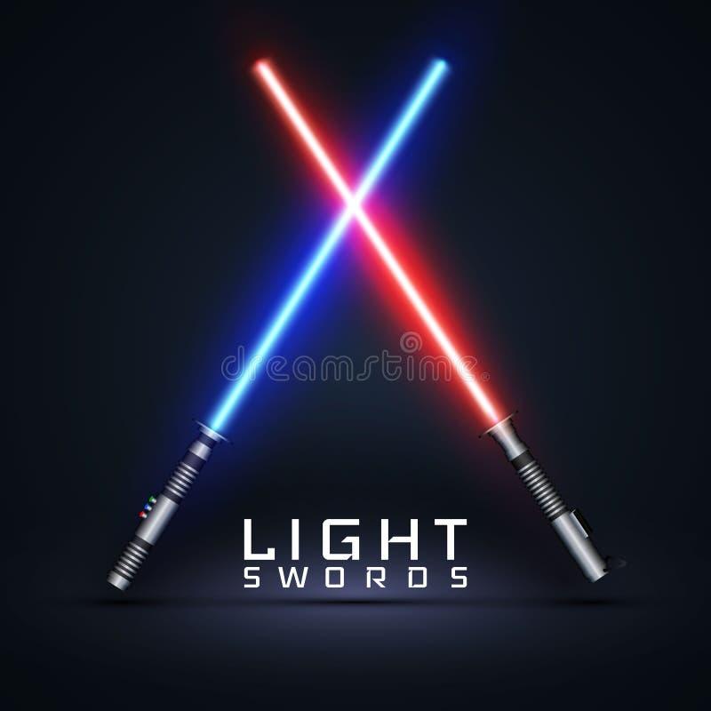 Spade della luce al neon Spade laser attraversate isolate sul fondo del darck Illustrazione di vettore royalty illustrazione gratis