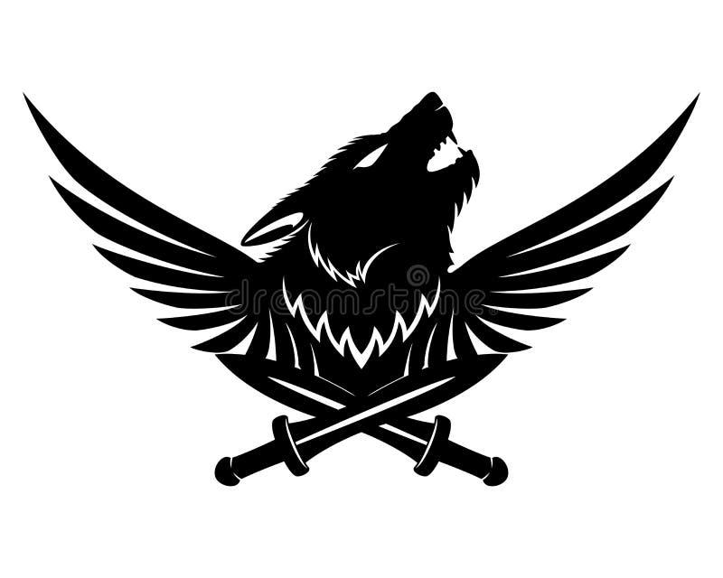 Spade ed ali del lupo royalty illustrazione gratis