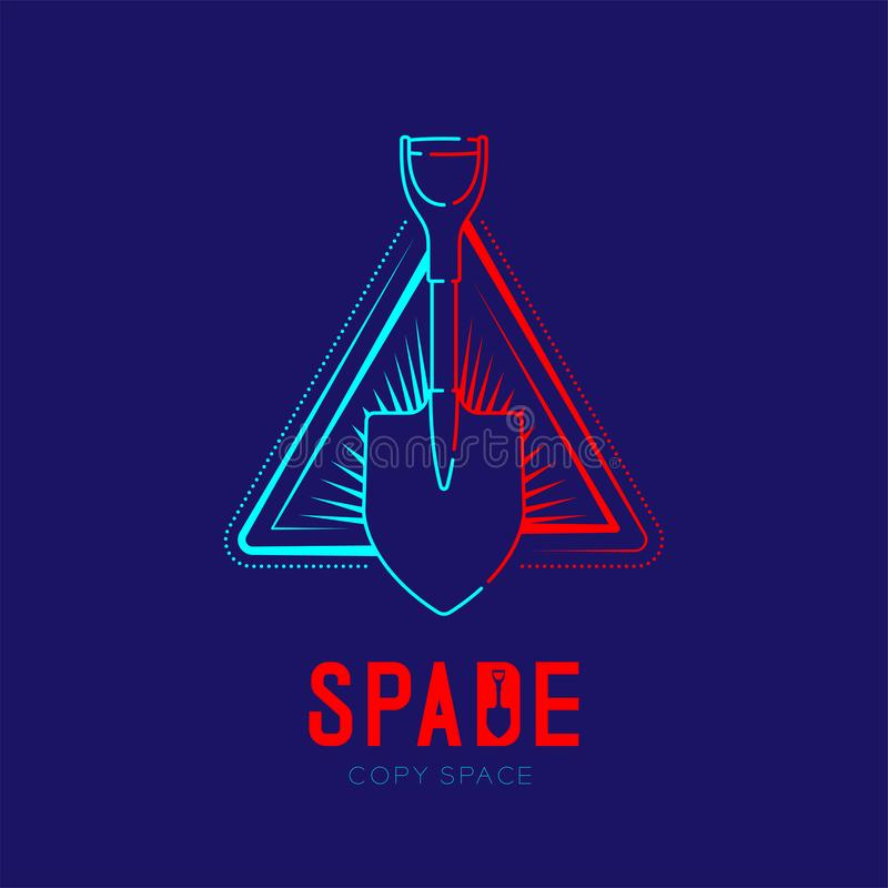 Spade with radius in triangle frame logo icon outline stroke set dash line design illustration isolated on dark blue background. With Spade text and copy space royalty free illustration