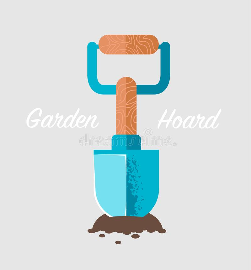 Spade stuck in the ground. Vector illustration stock illustration