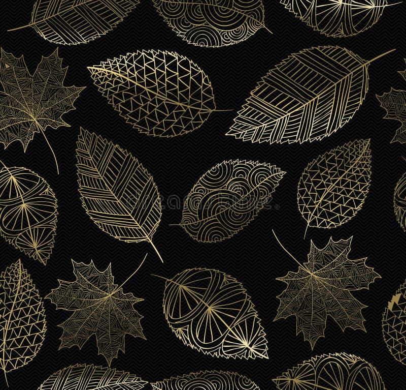 Spadek jesieni złocistego liścia pojęcia bezszwowy wzór ilustracja wektor