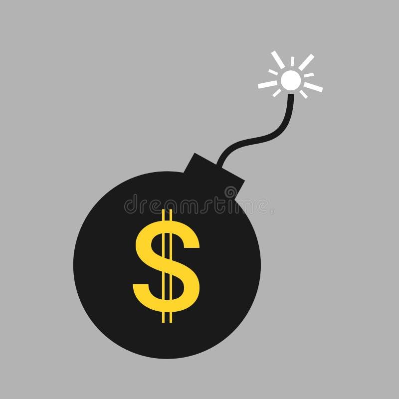 Spadek, kryzys finansowy i trzask amerykański dolar amerykański, royalty ilustracja