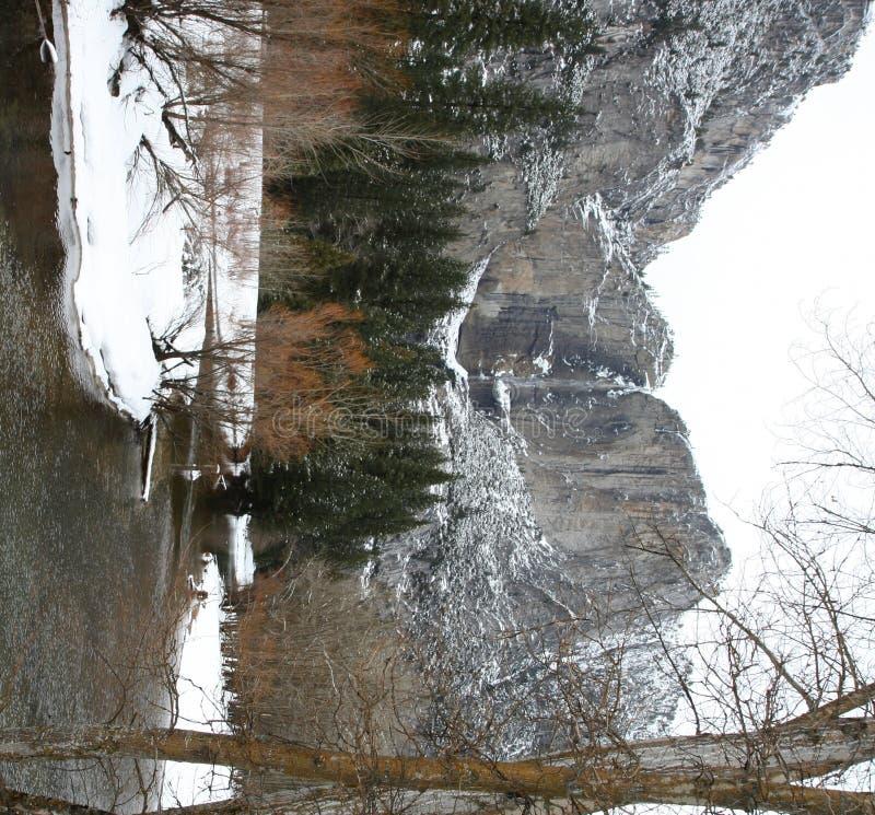 spadek obniżają górną zima Yosemite fotografia stock