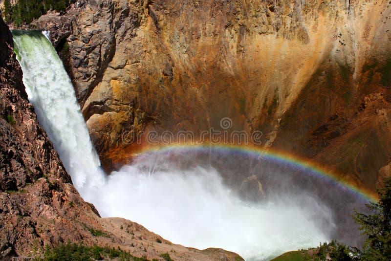 spadek obniżają tęczę Yellowstone fotografia royalty free