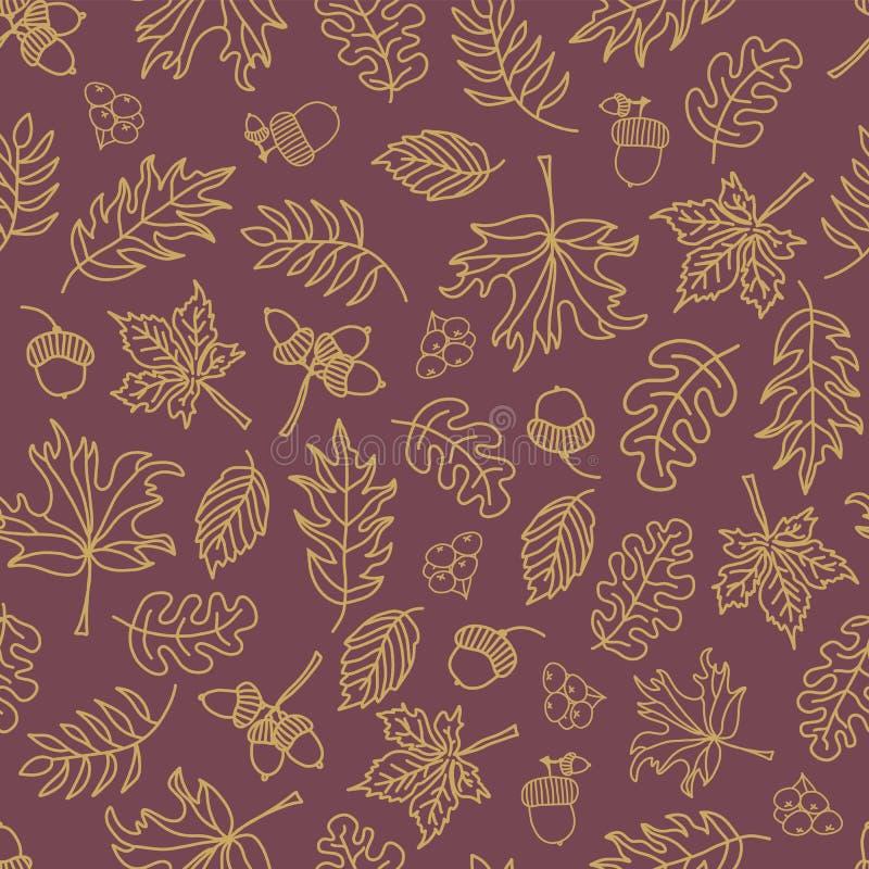 Spadek opuszcza bezszwowego wektorowego tło Beż zieleni liście na purpurowym tle Acorns, dębowy drzewo, klonowego drzewa wzór doo ilustracji