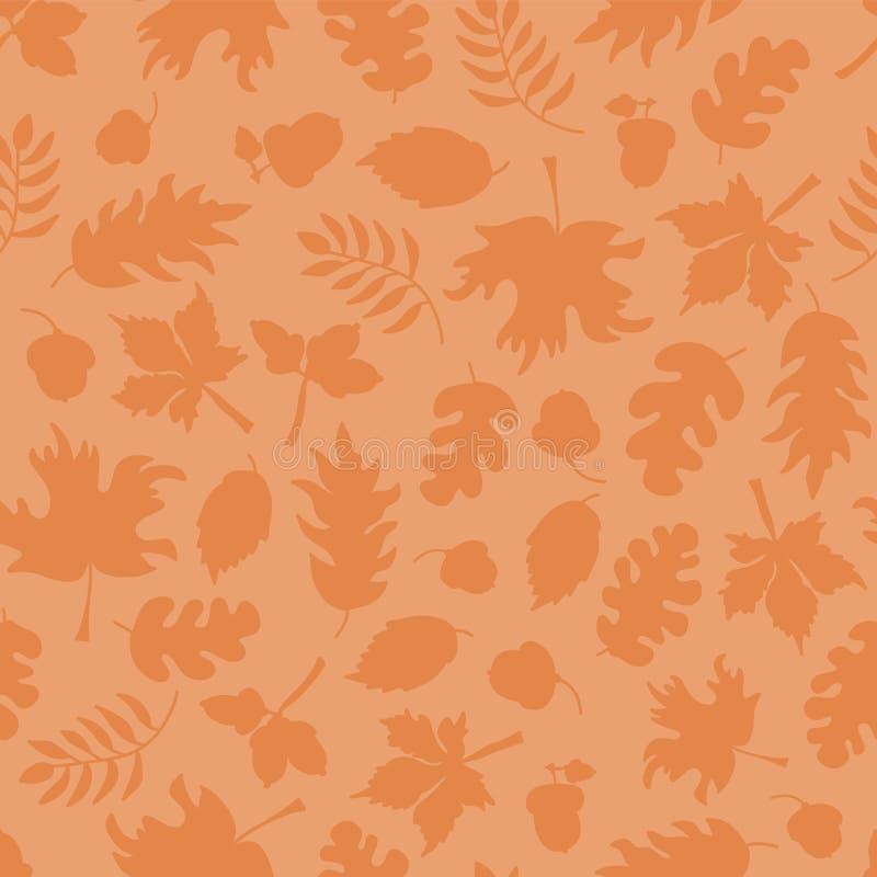 Spadek opuszcza bezszwowego wektorowego tło Pomarańczowe liść sylwetki na świetle - pomarańcze Acorns, dębowy drzewo, klonowego d ilustracja wektor
