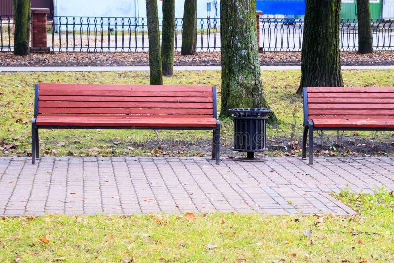 spadek póżno prawie żadny liście Pusta ławka w jesień parku Zakończenie zdjęcie stock