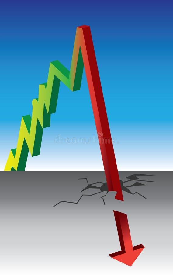 spadek wykresu wzrost royalty ilustracja