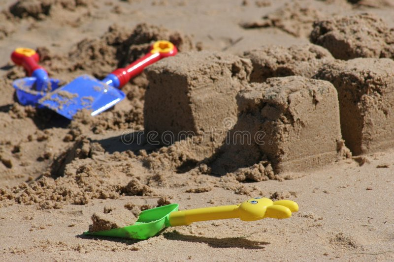 Download Spades on Beach stock photo. Image of shovels, plastic - 1580712