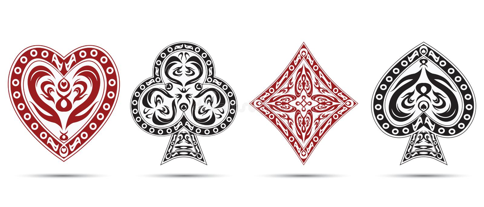 Spades, hearts, diamonds, clubs poker cards symbols isolated on white background vector illustration