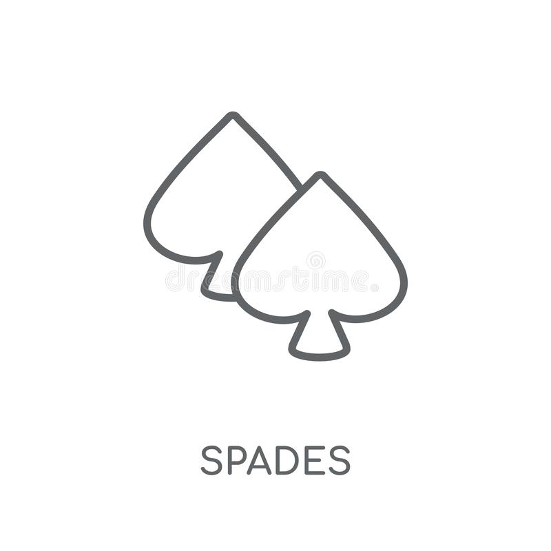 Spades linear icon. Modern outline Spades logo concept on white royalty free illustration