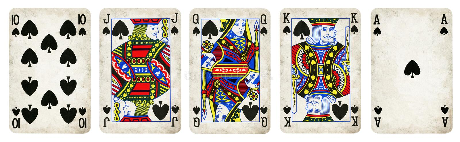 Spades Suit Vintage Playing Cards stock image