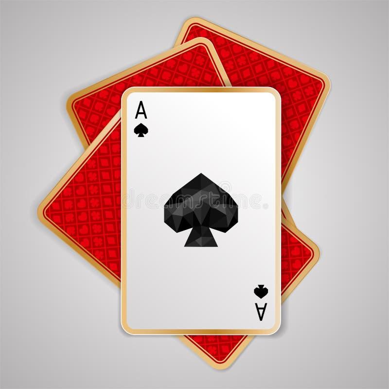 Spadesaas in vier speelkaarten royalty-vrije illustratie