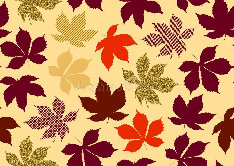 Spadków liści bezszwowy wzór z złocistą błyskotliwości teksturą Wektorowa ilustracja dla eleganckiego tła, tkanina, opakunkowego  ilustracja wektor
