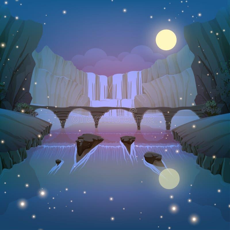 Spadki i rzeka most ilustracja wektor
