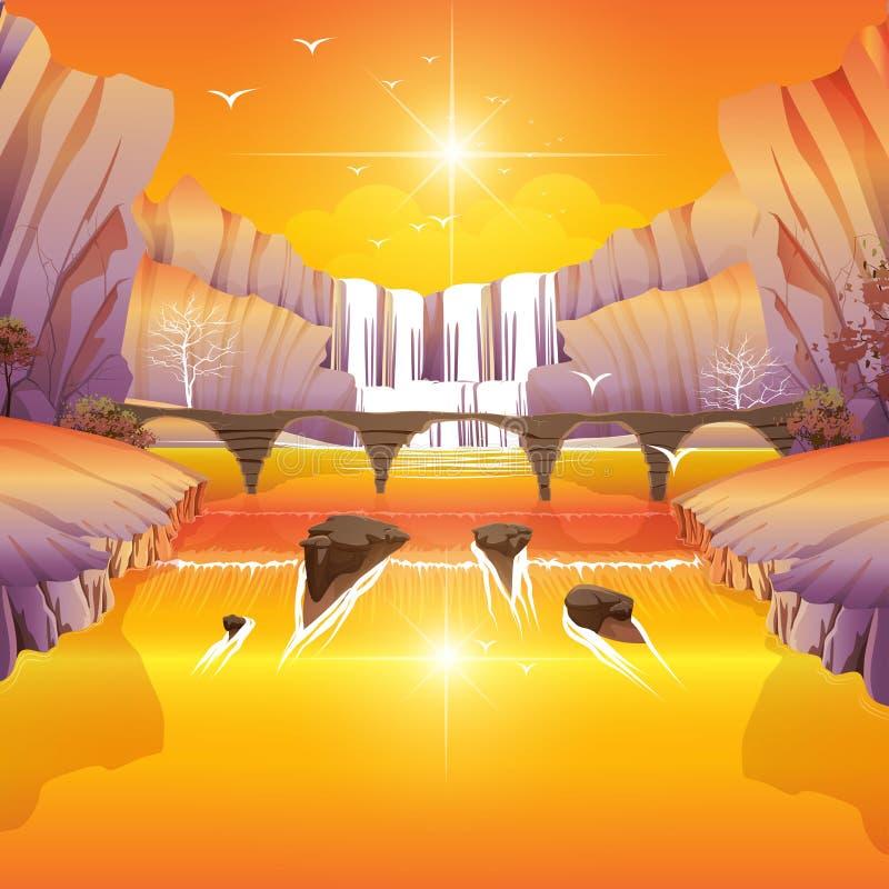 Spadki i rzeka most royalty ilustracja