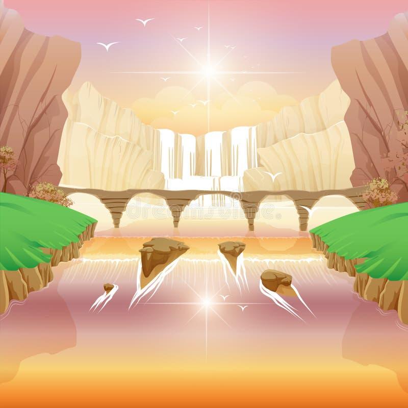 Spadki i rzeka most ilustracji