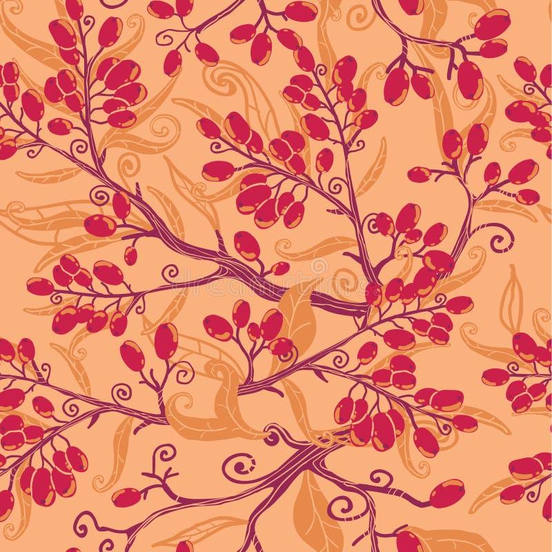 Spadku buckthorn jagod bezszwowy deseniowy tło ilustracja wektor