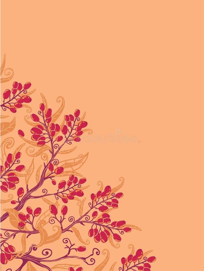 Spadku buckthorn jagod narożnikowy tło ilustracji