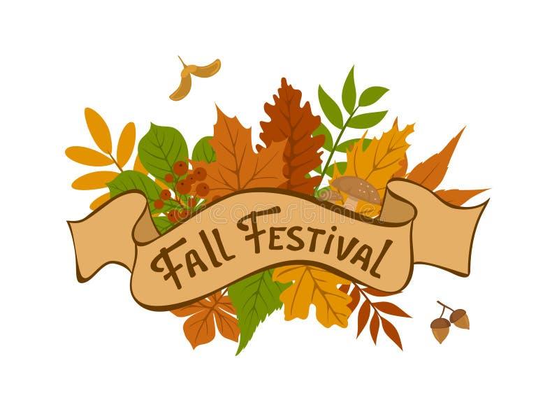 Spadku festiwalu rocznika odznaka z lasowej jesieni kolorowymi liśćmi royalty ilustracja