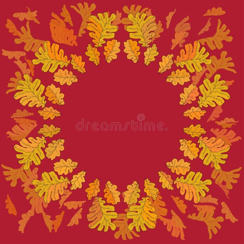 Spadku tło z barwionymi dębowymi liśćmi ilustracji