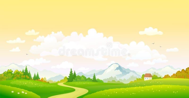 Spadku zmierzchu i scenerii nieba tło ilustracji