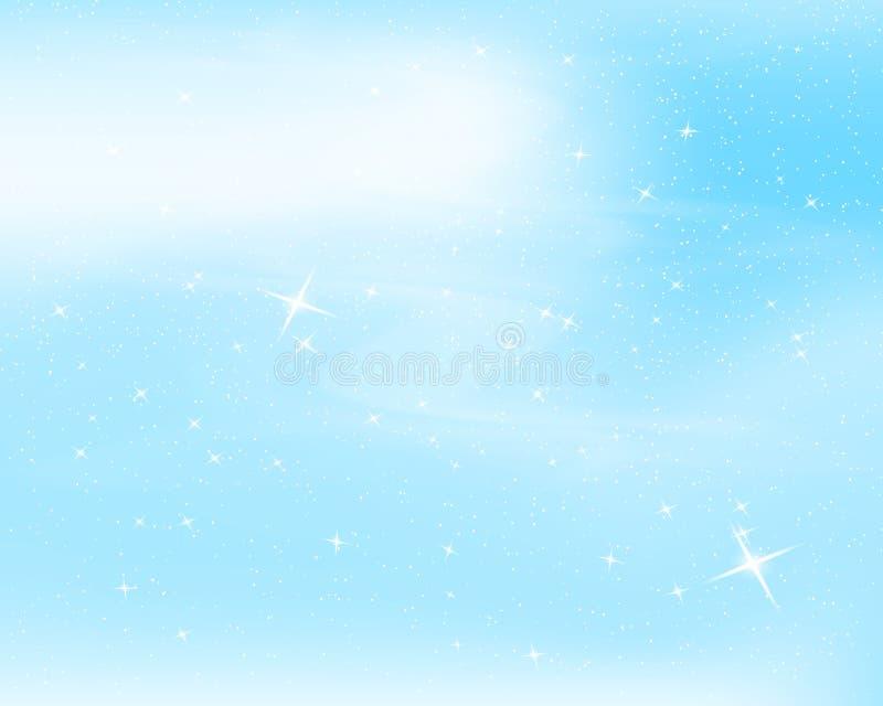 spadnie śnieg Niebieskie niebo z gwiazdami i chmurami gwiaździsty błyskotania tło Wektorowa ilustracja z płatkami śniegu Zimy sno royalty ilustracja
