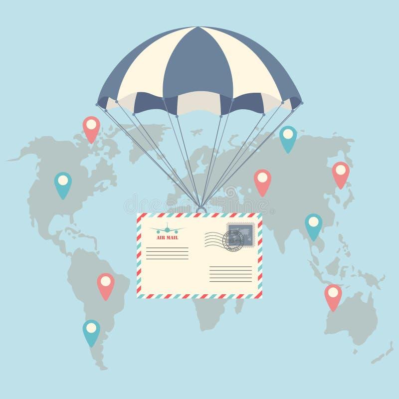Spadochron z lotniczej poczta kopertą Doręczeniowa usługa, lotnicza wysyłka royalty ilustracja