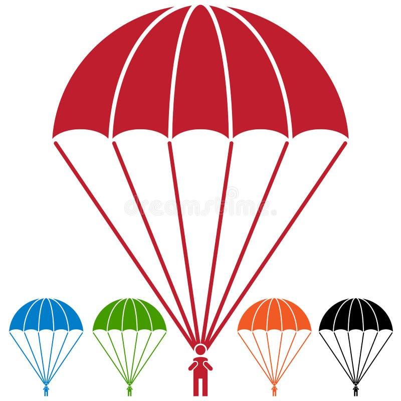 Spadochroniarza Skydiver ikony Spadochronowy set ilustracji