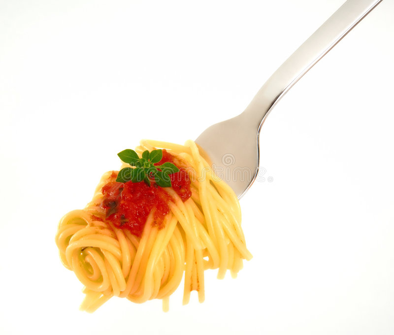 Spagetti. On fork at white royalty free stock photos